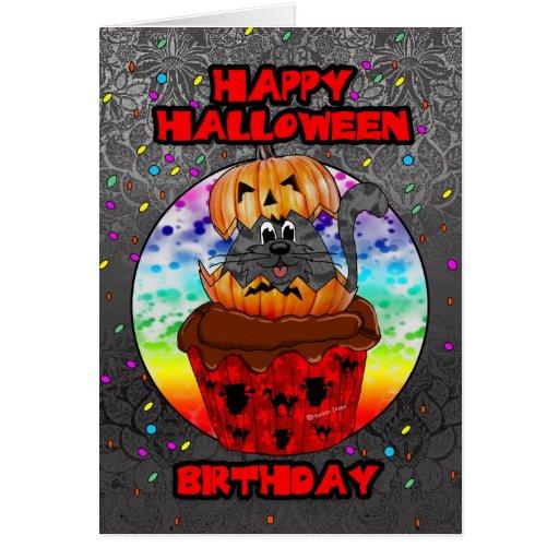 Halloween Birthday Ecards ~ Halloween birthday greeting card with cupcake cat zazzle