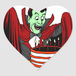 Halloween Birthday Greetings Heart Sticker