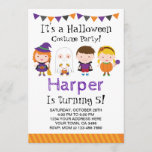 """Halloween birthday Invitation, Costume party Invitation<br><div class=""""desc"""">Cute and original Halloween birthday party invitations! All the text is editable. You get front and backside design.</div>"""