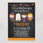 """Halloween birthday Invitation, Costume party Invitation<br><div class=""""desc"""">Cute and original Halloween birthday party invitations with chalkboard background! All the text is editable. You get front and backside design.</div>"""