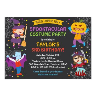 Halloween Themed Halloween Birthday Invitation, costume party, kids Card