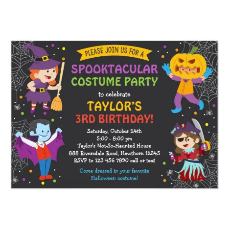 Halloween Birthday Invitation, costume party, kids Card
