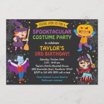 Halloween Birthday Invitation, costume party, kids Invitation