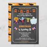 """Halloween birthday invitation for kid chalkboard<br><div class=""""desc"""">ANY EVENT.  All text  are editable! You may edit the wording for any event - kid's birthday,  baby shower,  halloween party,  etc. Cute Halloween monster characters on chalkboard. Get this fun and cute invitation now!</div>"""