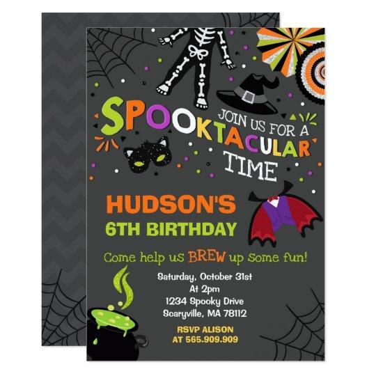 halloween birthday invitation spooktacular party zazzle com