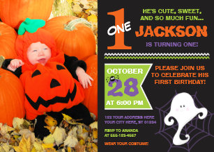 halloween birthday invitation with photo