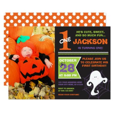 Halloween Themed Halloween Birthday Invitation with Photo