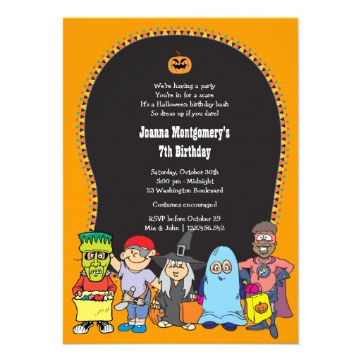 Personalized Girls costume birthday party Invitations ...