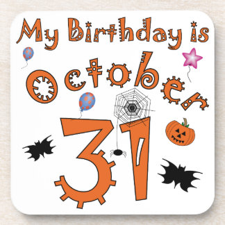 Halloween Birthday October 31st Drink Coaster