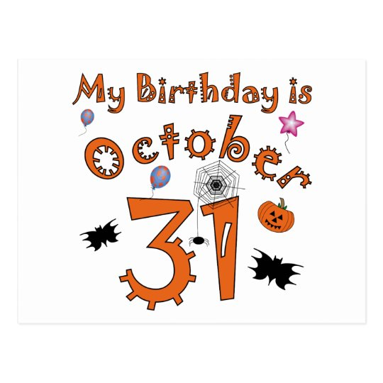 Halloween Birthday October 31st Postcard