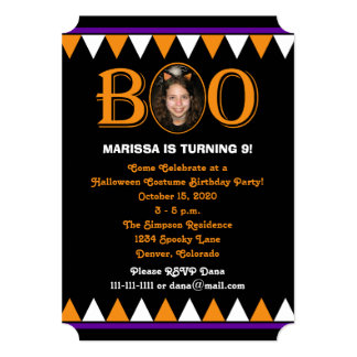 Halloween Birthday Party Boo Photo and Candy Corn 5x7 Paper Invitation Card