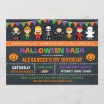 "Halloween Birthday Party Chalkboard Jack O'Lantern Invitation<br><div class=""desc"">Fun Halloween theme birthday invitation featuring illustration of adorable kids in spooky costumes</div>"
