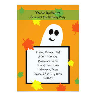 Halloween Birthday Party Invitation Fall Ghost
