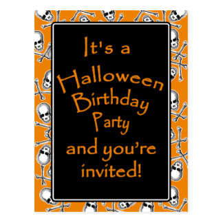 Halloween Birthday Party Invitations Postcard