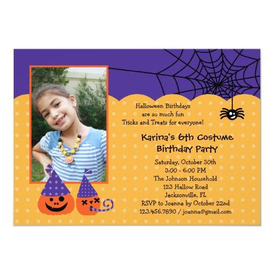 Halloween Birthday Photo Invitation