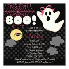 Halloween Birthday Pink Ghost Invitations at Zazzle