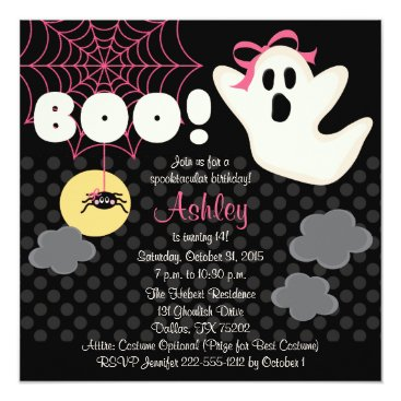 Halloween Themed Halloween Birthday Pink Ghost Invitations