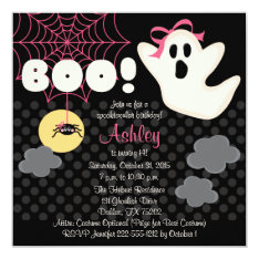 Halloween Birthday Pink Ghost Invitations at Zazzle