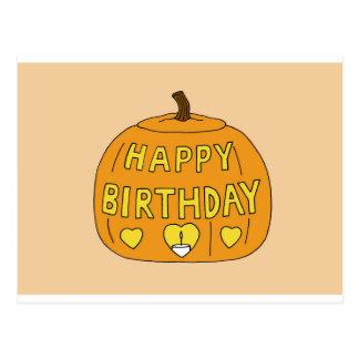 Halloween Birthday Pumpkin Postcard