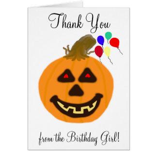 Halloween Birthday Thank You Blank Cards