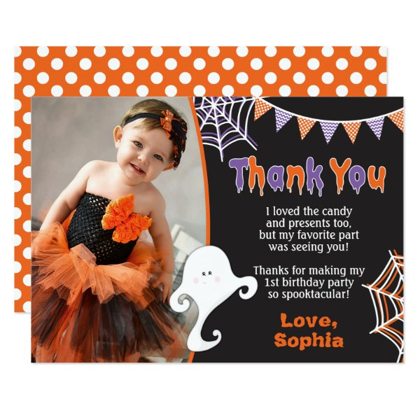 Halloween Birthday Thank You Card with Photo
