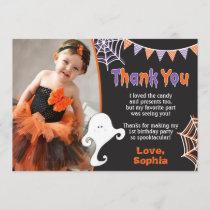 Halloween Birthday Thank You Card with Photo