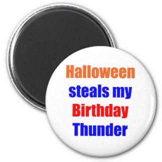 Halloween Birthday Thunder 2 Inch Round Magnet