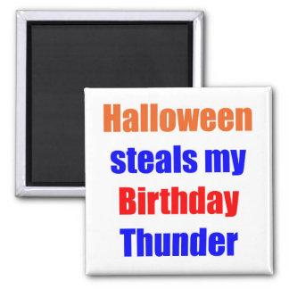 Halloween Birthday Thunder 2 Inch Square Magnet