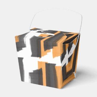 Halloween Black and Orange Pattern Favor Box