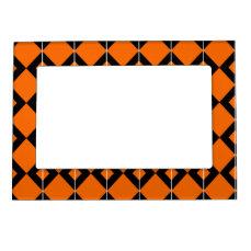 Halloween Black and Orange pattern Magnetic Photo Frame