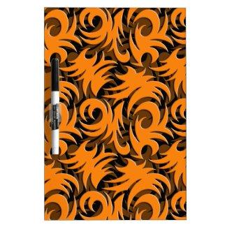 Halloween Black and Orange Swirl Decoration Dry Erase Boards