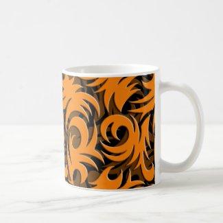Halloween Black and Orange Swirl Decoration Mugs