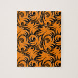 Halloween Black and Orange Swirl Decoration Puzzle