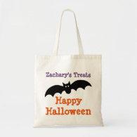Halloween Black Bat Personalized Treat Bag