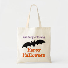 Halloween Black Bat Personalized Treat Bag at Zazzle