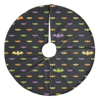 Halloween Black Bats Holiday Custom Retro Fleece Tree Skirt