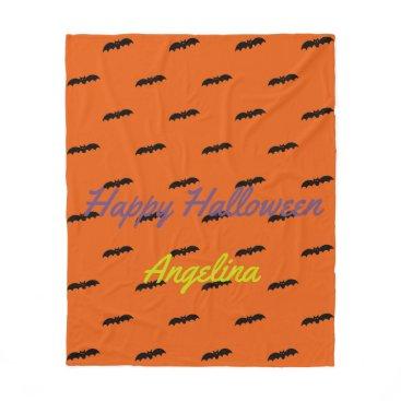 Halloween Themed Halloween Black Bats on Tangerine Personalized Fleece Blanket