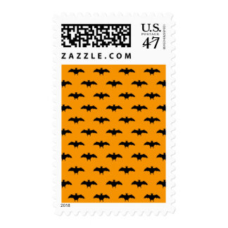 Halloween Black Bats Orange Background Bat Pattern Postage
