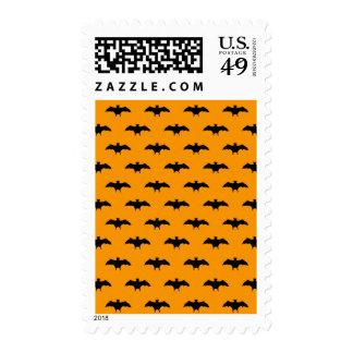 Halloween Black Bats Orange Background Bat Pattern Stamp