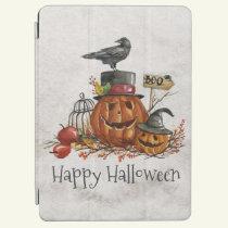 Halloween Black Bird and Pumpkins iPad Air Case