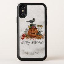 Halloween Black Bird and Pumpkins iPhone X Case