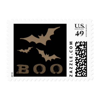 Halloween Black & Brown BOO Bats Postage Stamp