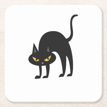 Halloween Themed Halloween Black Cat 2017 Gift Square Paper Coaster
