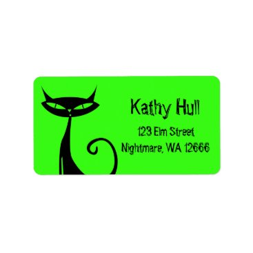 Halloween Themed Halloween Black Cat Address Labels