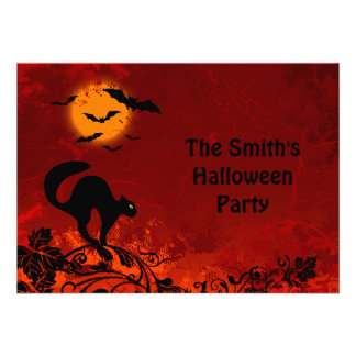 Halloween Black Cat and Bats Personalized Invitation