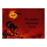 Halloween Black Cat and Bats Party Cards