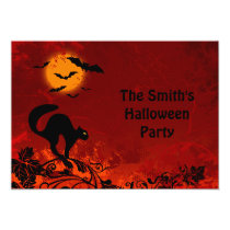 Halloween Black Cat and Bats Party Invitation