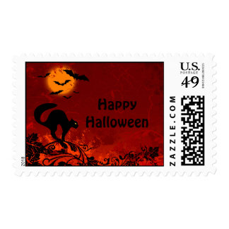 Halloween Black Cat and Bats Postage