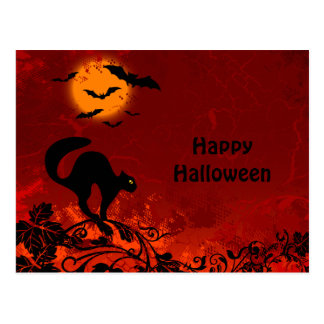 Halloween Black Cat and Bats Postcard