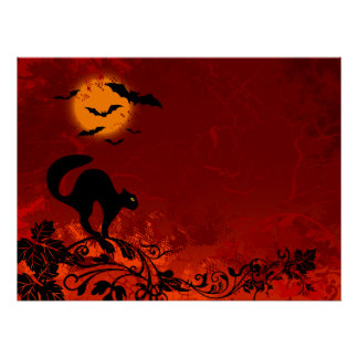 Halloween Black Cat and Bats Poster